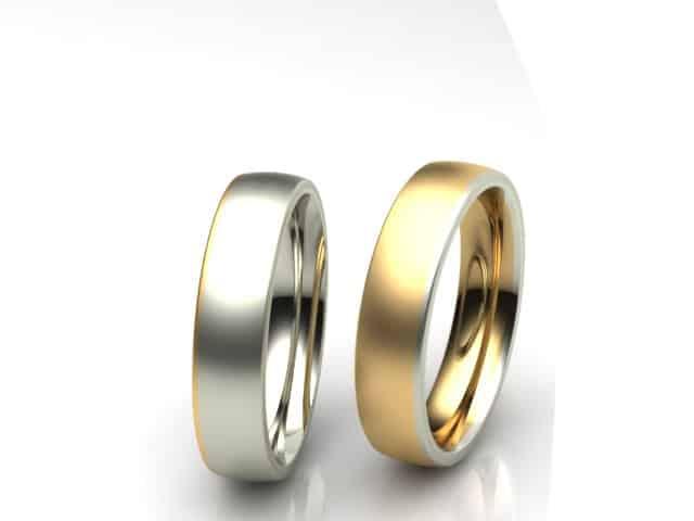 Mehrfarbige Eheringe mit Gelbgold und Weissgold