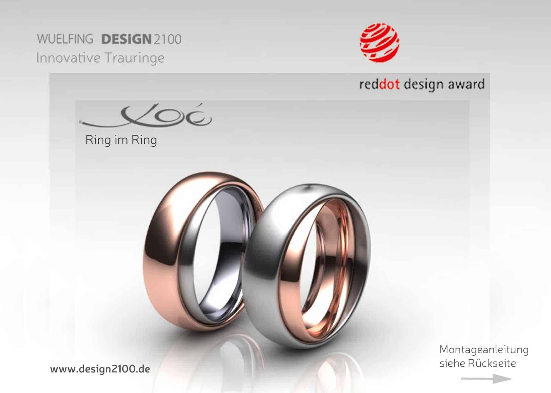 Bild von zwei Partnerringen ausgezeichnet mit Red Dot Design Award