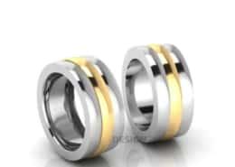 Trauringe mehrfarbig Gelbgold beweglich -Silber