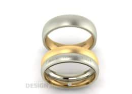 Trauringe mehrfarbig matt mit Verlobungsring