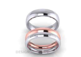 Trauringe und Verlobungsring mit Lasergravur Brillant