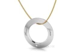 Designer Collier Silber Lasergravur Brillanten Goldkette